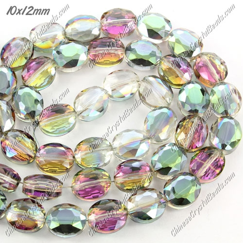 Chinese Crystal Faceted Oval Bead, 7x10x12mm, green and purple light, 20 pcs per strand