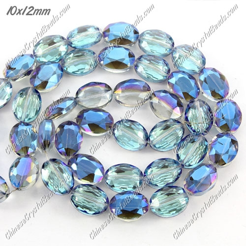 Chinese Crystal Faceted Oval Bead, 7x10x12mm, blue light, 20 pcs per strand