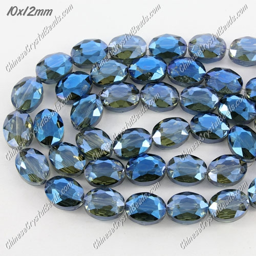 Chinese Crystal Faceted Oval Bead, 7x10x12mm, Magic Blue, 20 pcs per strand