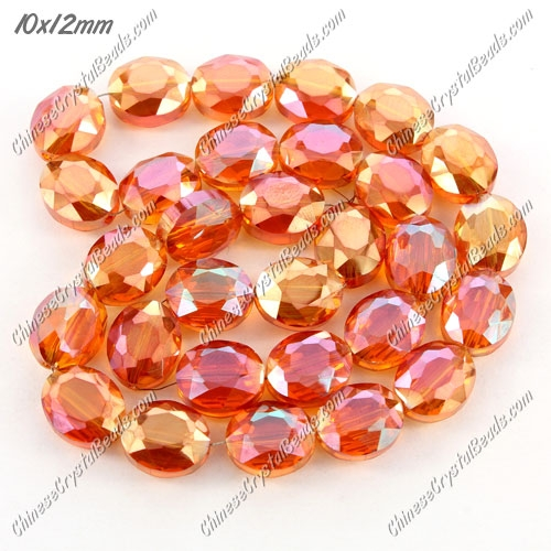 Chinese Crystal Faceted Oval Bead, 7x10x12mm, orange light, 20 pcs per strand