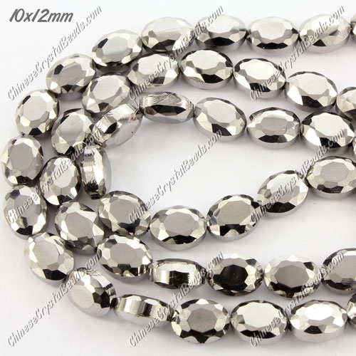 28 pcs Chinese Crystal Faceted Oval Bead, 7x10x12mm, silver