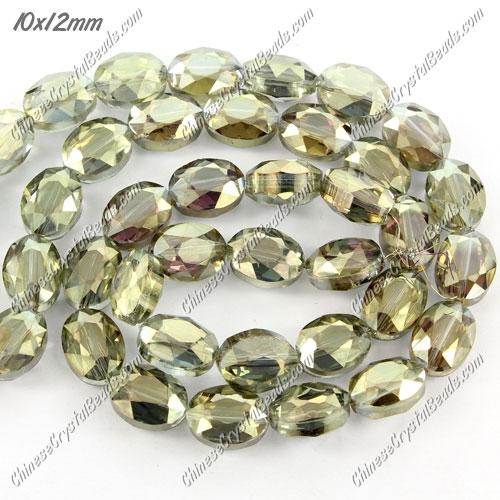 Chinese Crystal Faceted Oval Bead, 7x10x12mm, green light, 20 pcs per strand