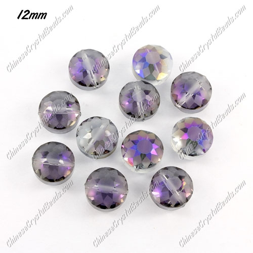 crystal (frosted) sunflower pendant, purple light, 8x12x12mm, sold per pkg of 12pcs
