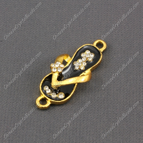 Slippers Pendant Charm, Black Enamel, gold plated, Findings DIY, 1 piece