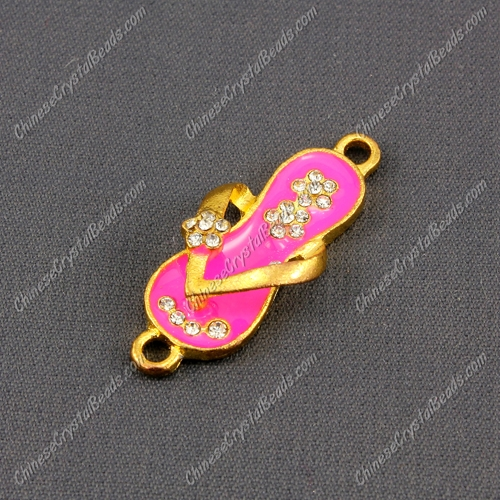 Slippers Pendant Charm, Neon Fuchsia Enamel, gold plated, Findings DIY, 1 piece