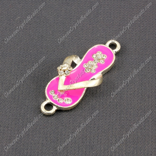 Slippers Pendant Charm, Neon Fuchsia Enamel, silver plated, Findings DIY, 1 piece