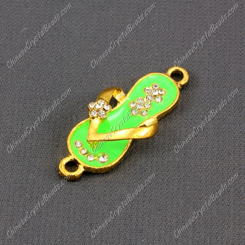 Slippers Pendant Charm, Neon Green Enamel, gold plated, Findings DIY, 1 piece