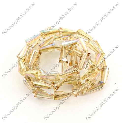 Chinese Artemis Crystal beads, 6x12mm, golden-shodow, per pkg of 20pcs