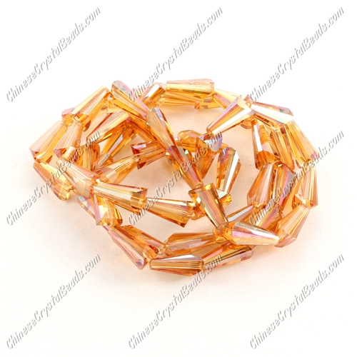 Chinese Artemis Crystal beads, 6x12mm, orange light, per pkg of 20pcs
