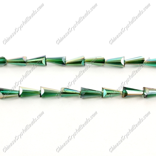 Chinese Artemis Crystal beads, 6x12mm, emerald AB, per pkg of 20pcs