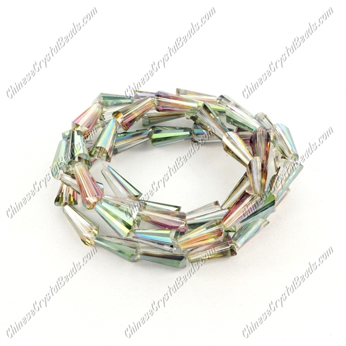 Chinese Artemis Crystal beads, 6x12mm, purple and green light, per pkg of 20pcs