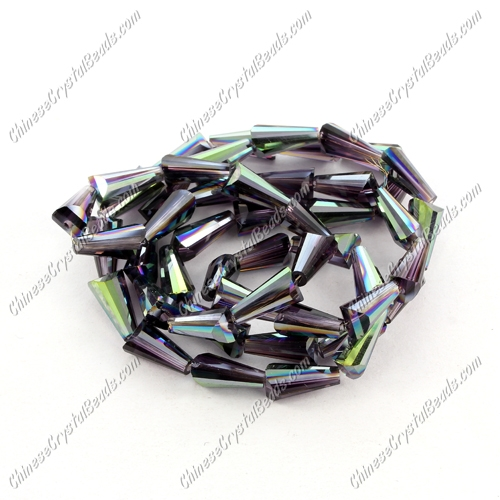 Chinese Artemis Crystal beads, 6x12mm, violet green light, per pkg of 20pcs