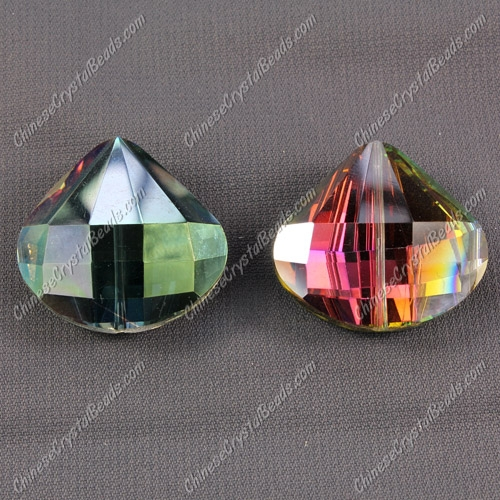 Crystal shell pendant, 26x28mm, hole about 1.5mm, purple and green light, sold 1 pcs