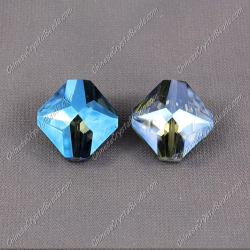 crystal square pendant, 19x22mm, hole about 1.5mm, Magic Blue, sold 1 pcs
