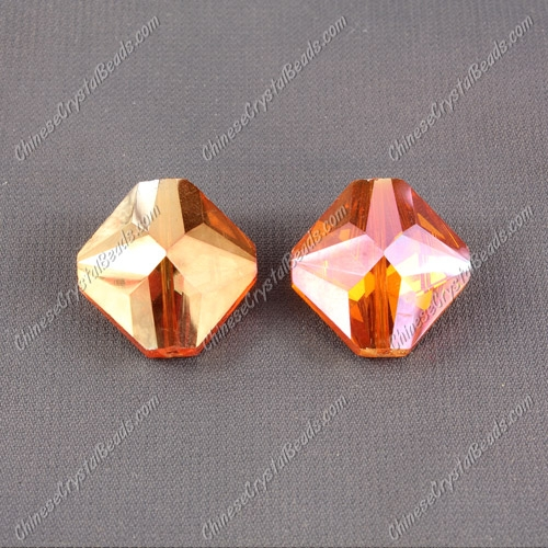 crystal square pendant, 19x22mm, hole about 1.5mm, orange light, sold 1 pcs