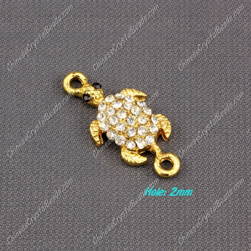 turtles pave crystal link charms, gold plated 13x27mm, 1pcs