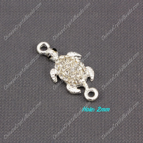turtles pave crystal link charms, silver plated 13x27mm, 1pcs