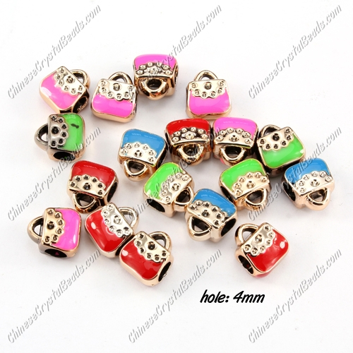 CCB, bags beads, hole: 4mm, 7x10x11mm, mixture color, sold per pkg of 20 pcs