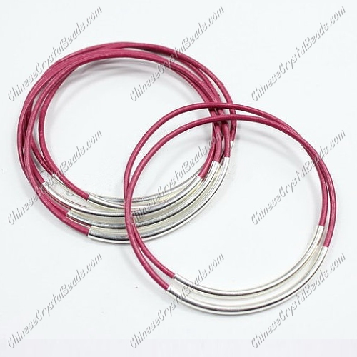 Silver Plated tubes bangle bracelet, Fuchsia leather silver bracelet