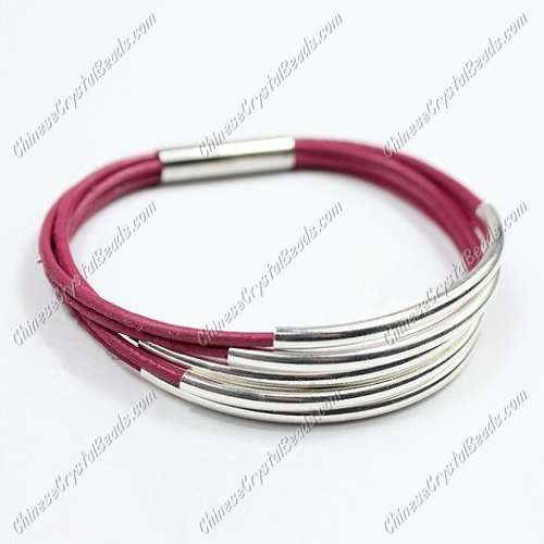 Silver Plated tubes bracelet, Fuchsia leather bracelet, silver plated magnetic clasp