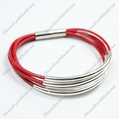 Silver Plated tubes bracelet, Red leather bracelet, silver plated magnetic clasp
