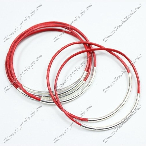 Silver Plated tubes bangle bracelet, red leather silver bracelet