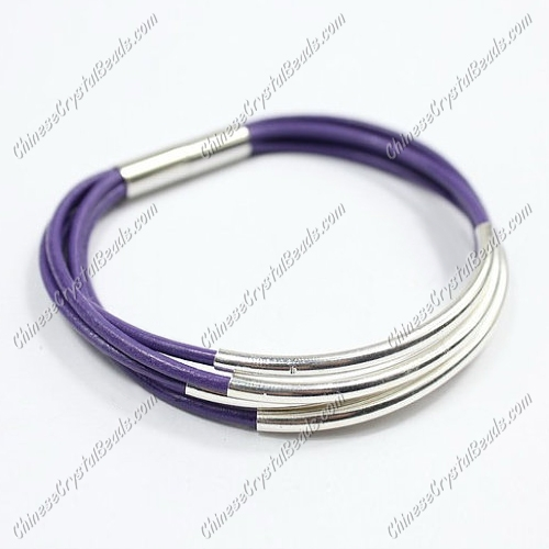 Silver Plated tubes bracelet, Violet leather bracelet, silver plated magnetic clasp