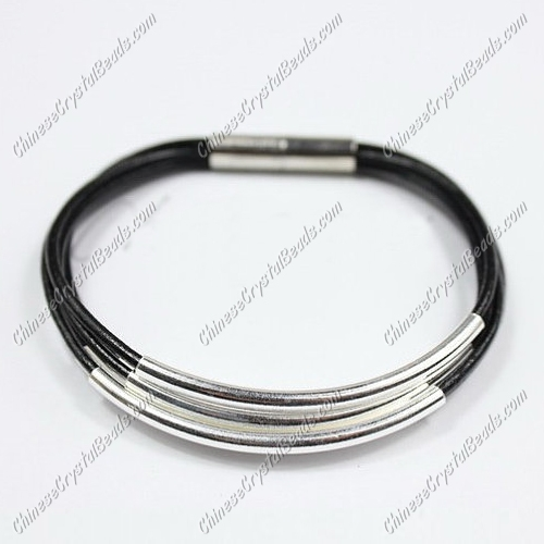 Silver Plated tubes bracelet, black leather bracelet, silver plated magnetic clasp