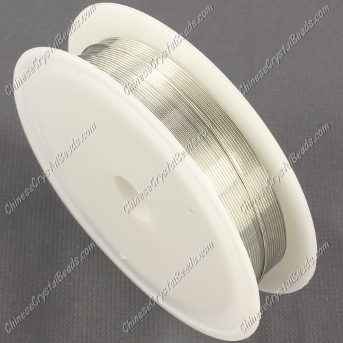 Wire, silver-finished copper, round, 0.5mm. Sold per 8 meter spool.