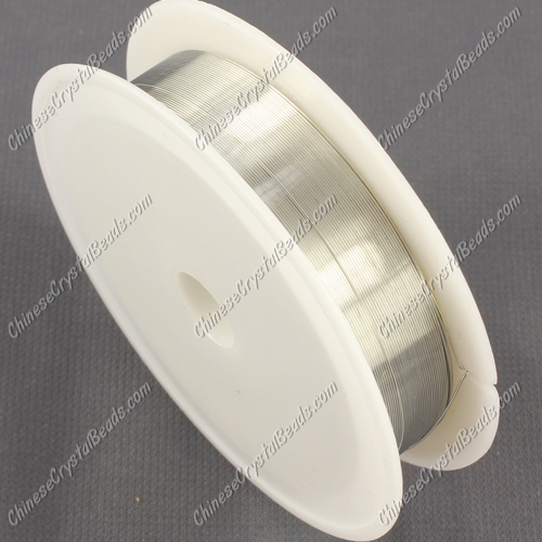 Wire, silver-finished copper, round, 0.3mm. Sold per 20 meter spool.