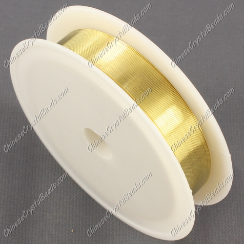 Wire, gold-finished copper, round, 0.3mm. Sold per 20 meter spool.