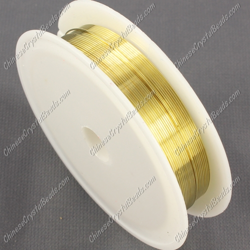 Wire, gold-finished copper, round, 0.5mm. Sold per 8 meter spool.