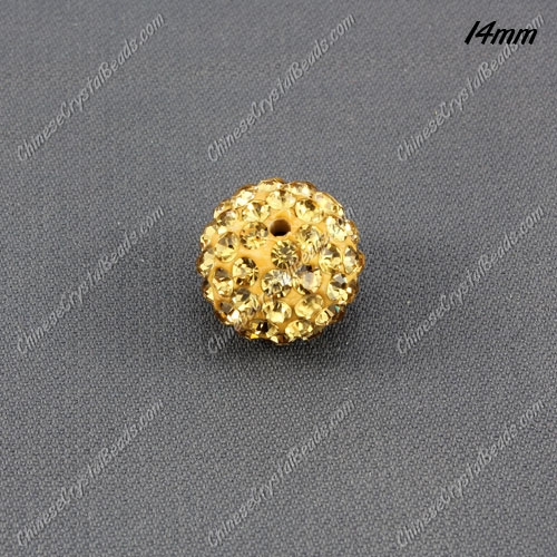 9Pcs 14mm Pave Crystal Disco (Clay) Ball Rhinestone Bead, champagne, hole: 1.8mm