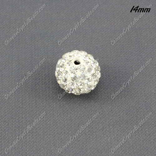 Pave Crystal Disco (Clay) Ball Rhinestone Bead, clear, 14mm, hole: 1.8mm, sold per pkg of 9pcs