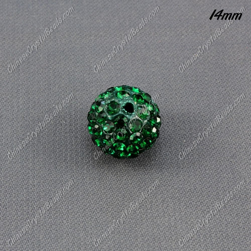 9Pcs 14mm Pave Crystal Disco (Clay) Ball Rhinestone Bead, emerald, hole: 1.8mm