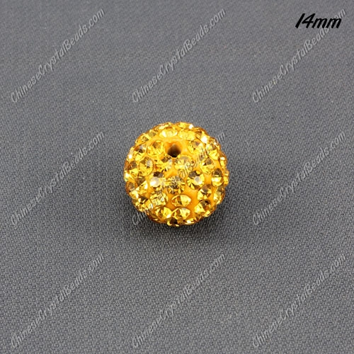 9Pcs 14mm Pave Crystal Disco (Clay) Ball Rhinestone Bead, golden, hole: 1.8mm