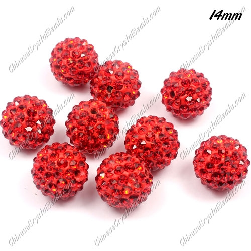 9Pcs 14mm Pave Crystal Disco (Clay) Ball Rhinestone Bead, red, hole: 1.8mm