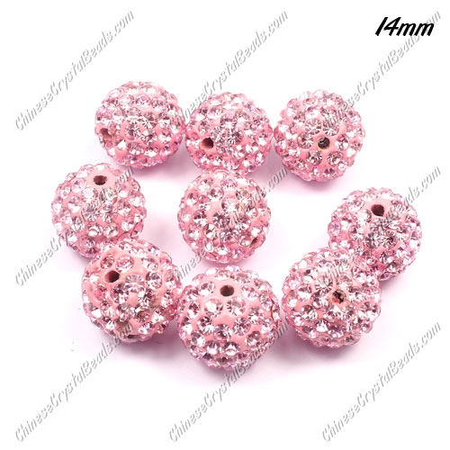 9Pcs 14mm Pave Crystal Disco (Clay) Ball Rhinestone Bead, pink, hole: 1.8mm