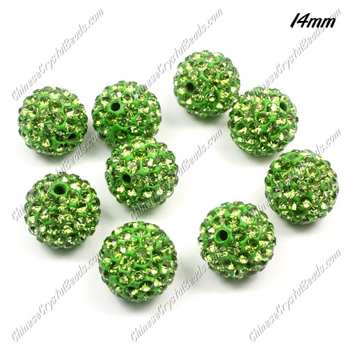 9Pcs 14mm Pave Crystal Disco (Clay) Ball Rhinestone Bead, green, hole: 1.8mm