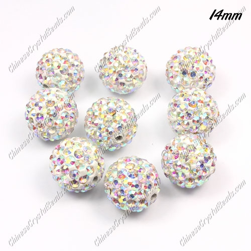 Pave Crystal Disco (Clay) Ball Rhinestone Bead, Clear AB, 14mm, hole: 1.8mm, 9 pcs