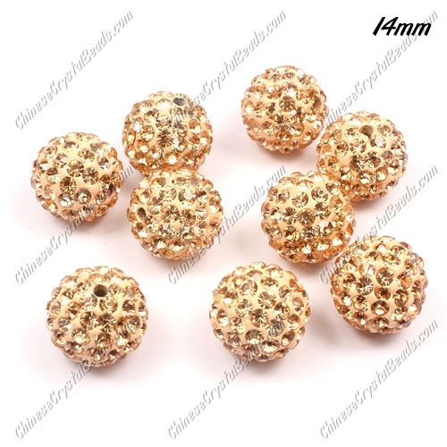 9Pcs 14mm Pave Crystal Disco (Clay) Ball Rhinestone Bead, peach, hole: 1.8mm