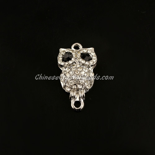 pave crystal owl charms, 28x16mm, silver plated, 1pcs
