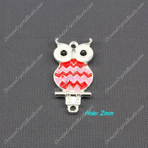 owl charms, 17x33mm, red, 1pcs