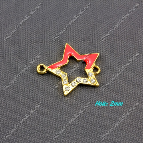 pave crystal star charms, 27x24mm, gold plated, 1 pieces