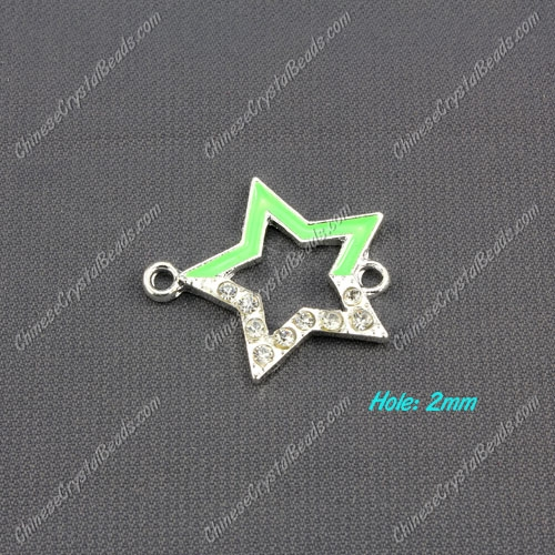 pave crystal star charms, 27x24mm, silver plated, 1 pieces