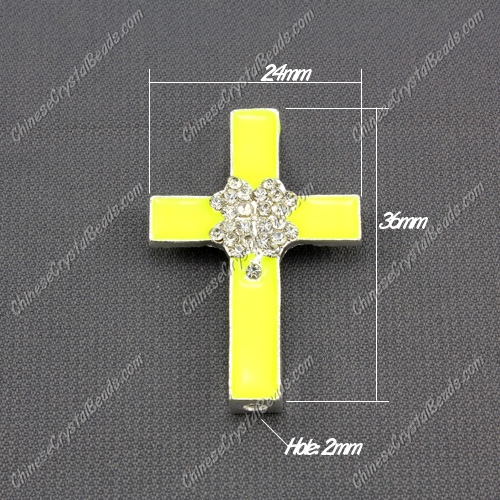 alloy cross neon color yellow, four leaf clovers, 24x36mm, 1 pcs