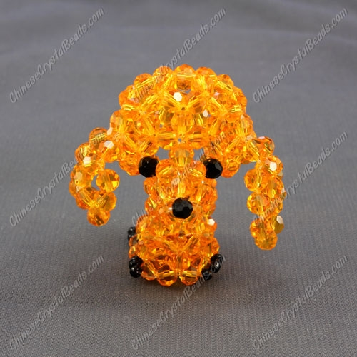 Crystal 3D Beading (Charm Kit) crystal animals Dog poodle, (round beads) sun, 48x40x32mm