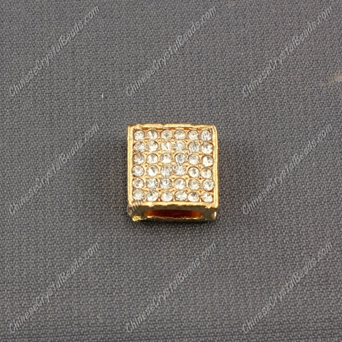 Pave square beads, 12mm, plate-rose gold, sold per pkg of 9pcs