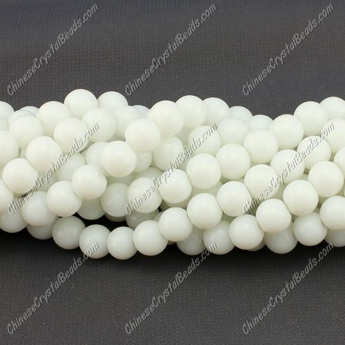 8mm round glass beads strand, white, 100pcs per strand