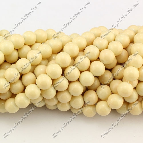 8mm round glass beads strand, Light Khaki, 100pcs per strand